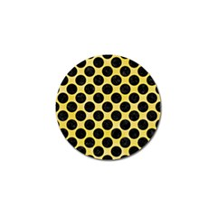 Circles2 Black Marble & Yellow Watercolor Golf Ball Marker by trendistuff