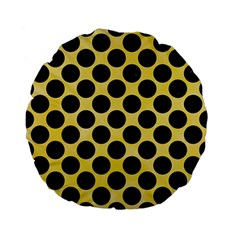 Circles2 Black Marble & Yellow Watercolor Standard 15  Premium Flano Round Cushions by trendistuff
