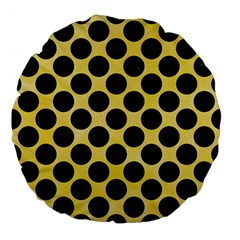 Circles2 Black Marble & Yellow Watercolor Large 18  Premium Flano Round Cushions by trendistuff