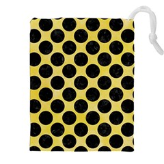 Circles2 Black Marble & Yellow Watercolor Drawstring Pouches (xxl) by trendistuff