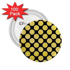 Circles2 Black Marble & Yellow Watercolor (r) 2 25  Buttons (100 Pack)  by trendistuff