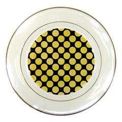 Circles2 Black Marble & Yellow Watercolor (r) Porcelain Plates by trendistuff