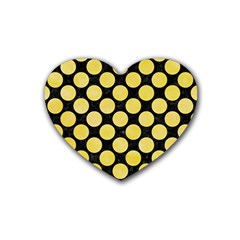Circles2 Black Marble & Yellow Watercolor (r) Heart Coaster (4 Pack)  by trendistuff