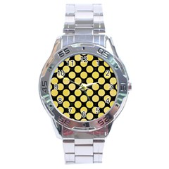 Circles2 Black Marble & Yellow Watercolor (r) Stainless Steel Analogue Watch by trendistuff