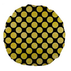Circles2 Black Marble & Yellow Watercolor (r) Large 18  Premium Flano Round Cushions by trendistuff