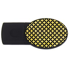 Circles3 Black Marble & Yellow Watercolor Usb Flash Drive Oval (4 Gb) by trendistuff