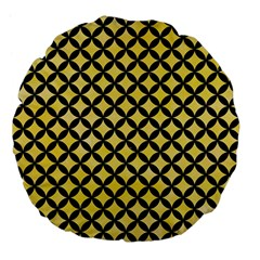 Circles3 Black Marble & Yellow Watercolor Large 18  Premium Flano Round Cushions by trendistuff
