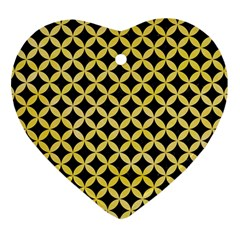 Circles3 Black Marble & Yellow Watercolor (r) Heart Ornament (two Sides) by trendistuff