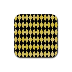 Diamond1 Black Marble & Yellow Watercolor Rubber Square Coaster (4 Pack)  by trendistuff