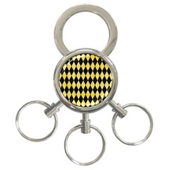 Diamond1 Black Marble & Yellow Watercolor 3 Ring Key Chains by trendistuff