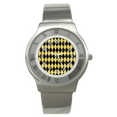 Diamond1 Black Marble & Yellow Watercolor Stainless Steel Watch by trendistuff