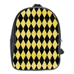 Diamond1 Black Marble & Yellow Watercolor School Bag (large)