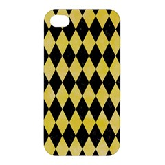 Diamond1 Black Marble & Yellow Watercolor Apple Iphone 4/4s Premium Hardshell Case by trendistuff