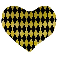 Diamond1 Black Marble & Yellow Watercolor Large 19  Premium Flano Heart Shape Cushions by trendistuff