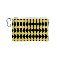 Diamond1 Black Marble & Yellow Watercolor Canvas Cosmetic Bag (s)