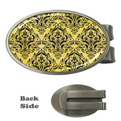 Damask1 Black Marble & Yellow Watercolor Money Clips (oval)