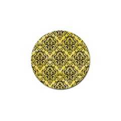 Damask1 Black Marble & Yellow Watercolor Golf Ball Marker by trendistuff
