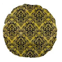 Damask1 Black Marble & Yellow Watercolor Large 18  Premium Flano Round Cushions by trendistuff