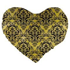 Damask1 Black Marble & Yellow Watercolor Large 19  Premium Flano Heart Shape Cushions by trendistuff