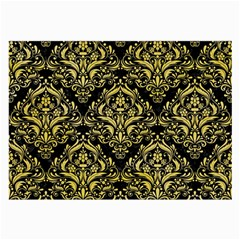 Damask1 Black Marble & Yellow Watercolor (r) Large Glasses Cloth (2 Side) by trendistuff