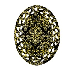 Damask1 Black Marble & Yellow Watercolor (r) Ornament (oval Filigree) by trendistuff