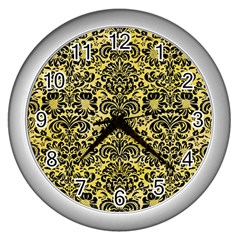 Damask2 Black Marble & Yellow Watercolor Wall Clocks (silver)  by trendistuff