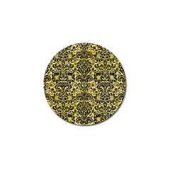 Damask2 Black Marble & Yellow Watercolor Golf Ball Marker (4 Pack) by trendistuff
