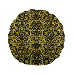 Damask2 Black Marble & Yellow Watercolor Standard 15  Premium Flano Round Cushions by trendistuff