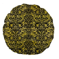 Damask2 Black Marble & Yellow Watercolor Large 18  Premium Flano Round Cushions by trendistuff