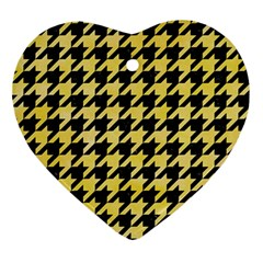 Houndstooth1 Black Marble & Yellow Watercolor Ornament (heart) by trendistuff