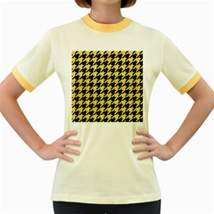 Houndstooth1 Black Marble & Yellow Watercolor Women s Fitted Ringer T Shirts by trendistuff