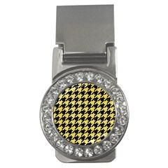 Houndstooth1 Black Marble & Yellow Watercolor Money Clips (cz)  by trendistuff