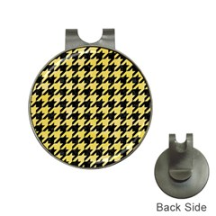 Houndstooth1 Black Marble & Yellow Watercolor Hat Clips With Golf Markers by trendistuff