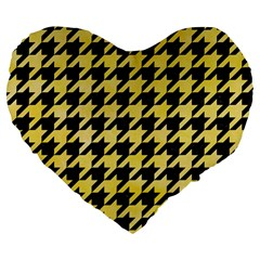 Houndstooth1 Black Marble & Yellow Watercolor Large 19  Premium Flano Heart Shape Cushions by trendistuff