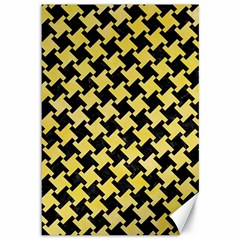 Houndstooth2 Black Marble & Yellow Watercolor Canvas 12  X 18   by trendistuff