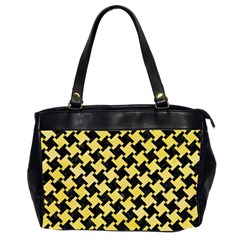Houndstooth2 Black Marble & Yellow Watercolor Office Handbags (2 Sides)  by trendistuff