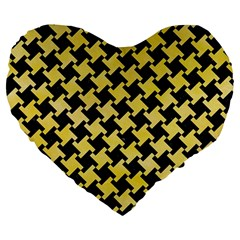 Houndstooth2 Black Marble & Yellow Watercolor Large 19  Premium Flano Heart Shape Cushions by trendistuff