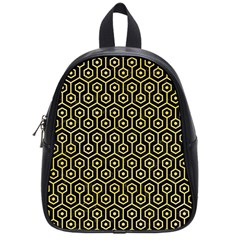 Hexagon1 Black Marble & Yellow Watercolor (r) School Bag (small) by trendistuff