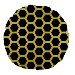 Hexagon2 Black Marble & Yellow Watercolor (r) Large 18  Premium Flano Round Cushions by trendistuff