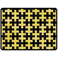 Puzzle1 Black Marble & Yellow Watercolor Double Sided Fleece Blanket (large)  by trendistuff
