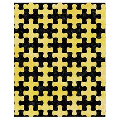 Puzzle1 Black Marble & Yellow Watercolor Drawstring Bag (small) by trendistuff