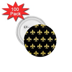 Royal1 Black Marble & Yellow Watercolor 1 75  Buttons (100 Pack)