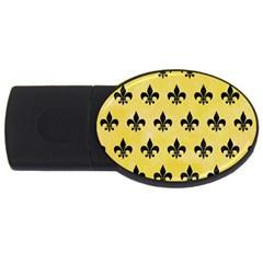 Royal1 Black Marble & Yellow Watercolor (r) Usb Flash Drive Oval (2 Gb) by trendistuff