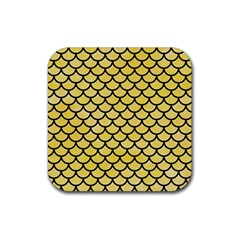 Scales1 Black Marble & Yellow Watercolor Rubber Coaster (square)  by trendistuff