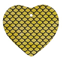 Scales1 Black Marble & Yellow Watercolor Heart Ornament (two Sides) by trendistuff