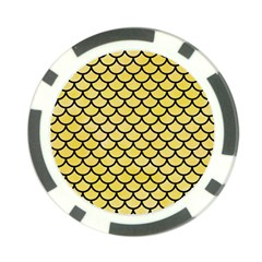 Scales1 Black Marble & Yellow Watercolor Poker Chip Card Guard by trendistuff