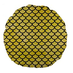 Scales1 Black Marble & Yellow Watercolor Large 18  Premium Flano Round Cushions by trendistuff