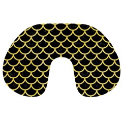 Scales1 Black Marble & Yellow Watercolor (r) Travel Neck Pillows by trendistuff