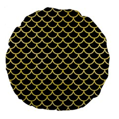 Scales1 Black Marble & Yellow Watercolor (r) Large 18  Premium Flano Round Cushions by trendistuff