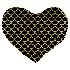 Scales1 Black Marble & Yellow Watercolor (r) Large 19  Premium Flano Heart Shape Cushions by trendistuff